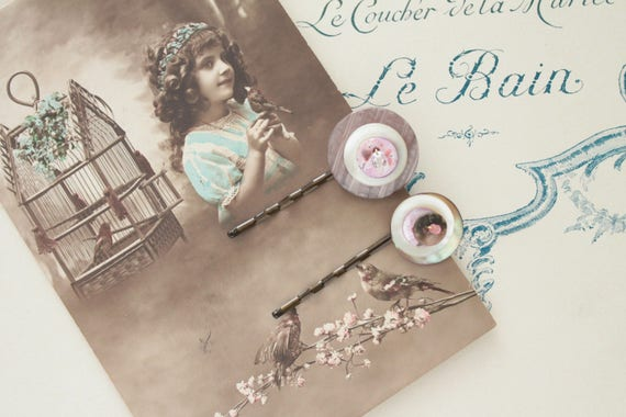 Hair clips on antique french postcard 1914,  vintage buttons,pearl buttons