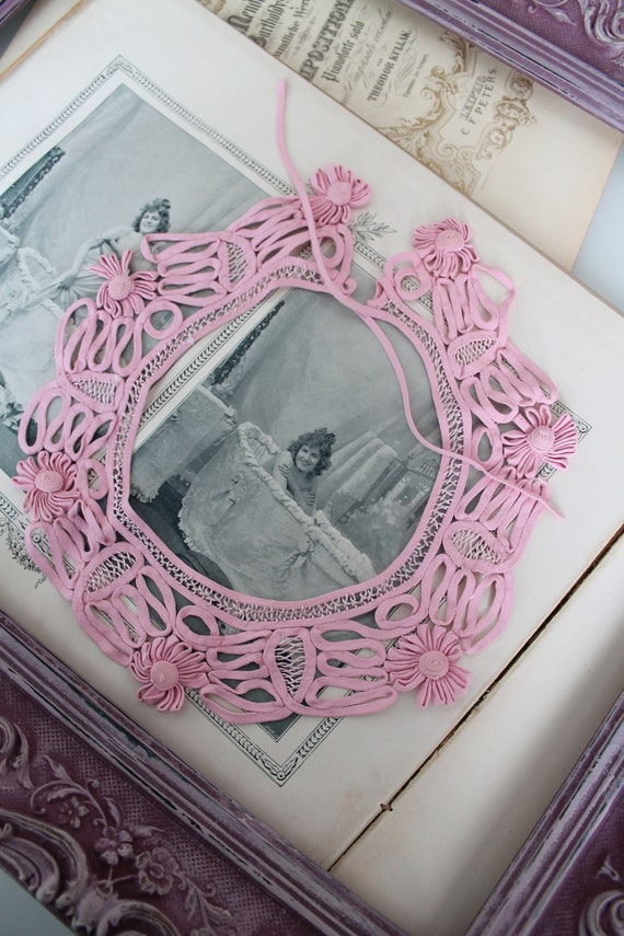 Vintage pink collar to tie, lace embroidery, fabric necklace, wedding pink collar, wedding pink accessory, fancy pink collar, pink necklace
