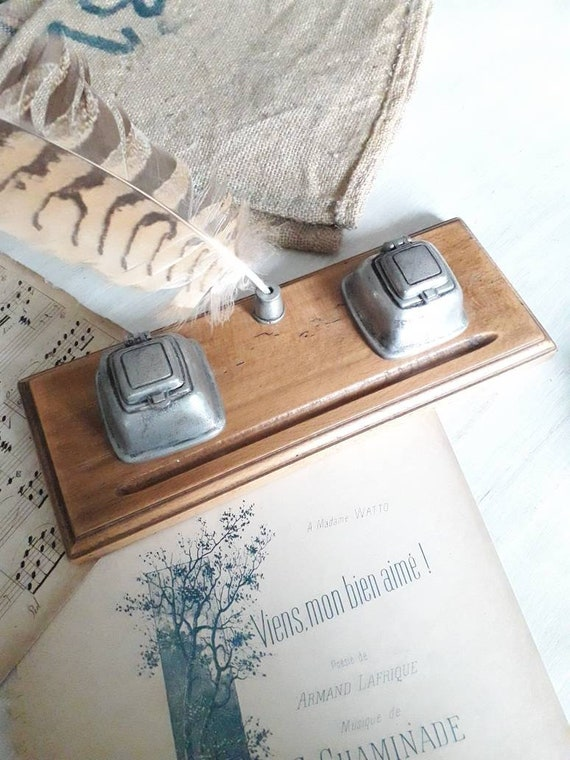 Large old French inkwell, wooden and tin inkwell, old plumier, old desk desk, writing board, ENC191784
