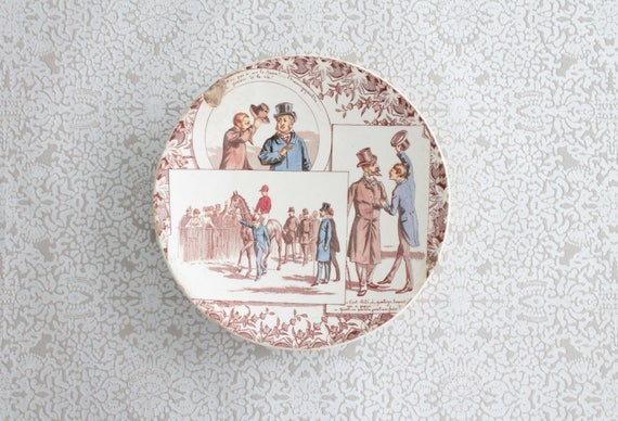 "French Antique Decorative Plate, ""Talking Plate"", Ironstone, U & C Sarreguemines and Digoin, tableware, ASD171211"