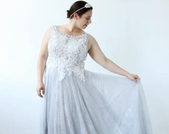 White Lace Sparkle Collar Gray Blue Wedding Dress