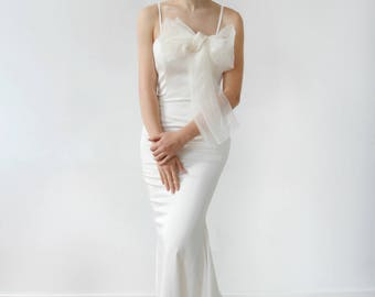 Slim Fitting Silk with Silk Organza Bow Mermaid Wedding Dress