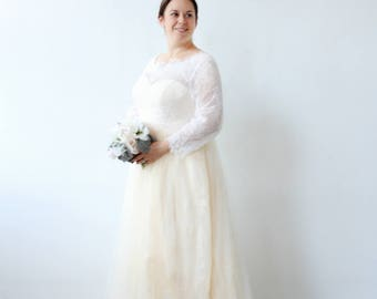 White Creamy Champagne Long Sleeve Wedding Dress