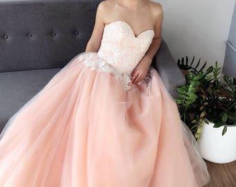 SAMPLE SALE Peach Blush Sweetheart Strapless Lace Ballgown Wedding Dress