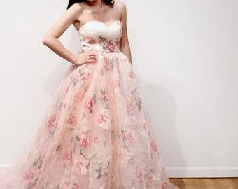 Strapless Floral Organza Ballgown Long Train Wedding Dress