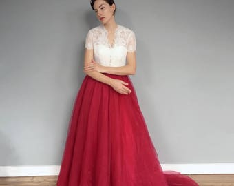 3d306bd715 Ruby Red Lace Short Sleeve Wedding Dress