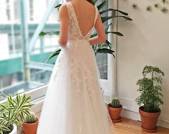 White Deep V Back Lace Wedding Dress
