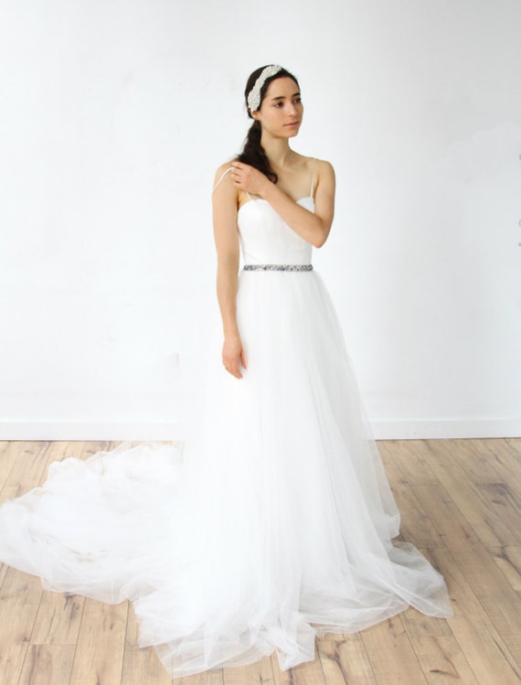 Simple Spaghetti Straps Wedding Dress With Beaded Belt Etsy