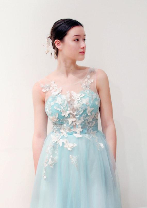 Mieszane Kwiatowe Motyle Lodowaty Niebieski Suknia ślubna Etsy