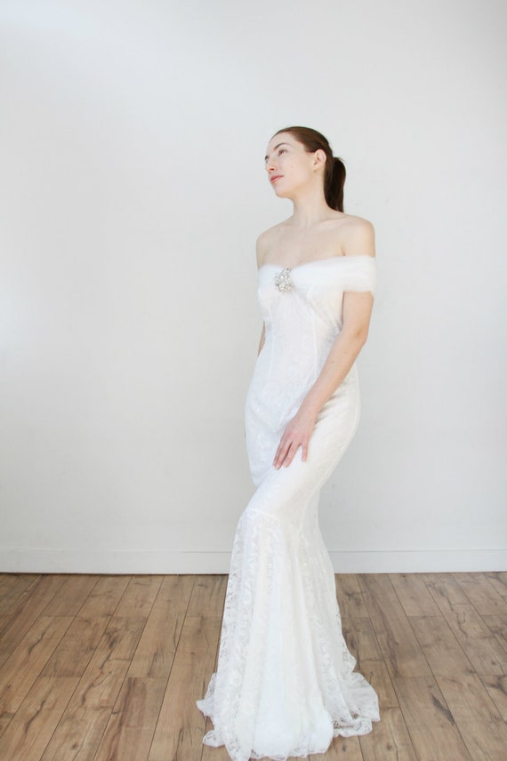 Off The Shoulder Wrap Lace Mermaid Wedding Dress Etsy