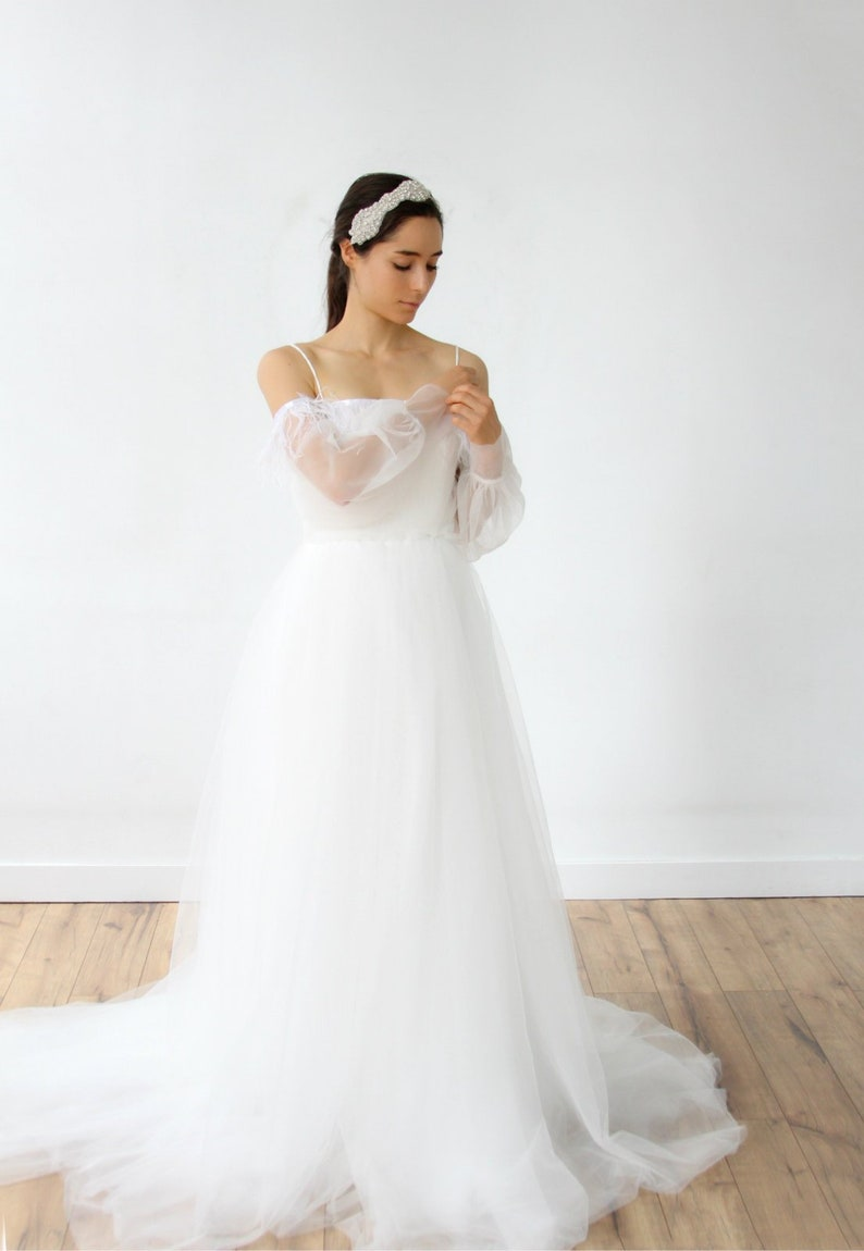 4da1390222fb Swan Lake Odette Feathered Off the Shoulder Wedding Dress | Etsy