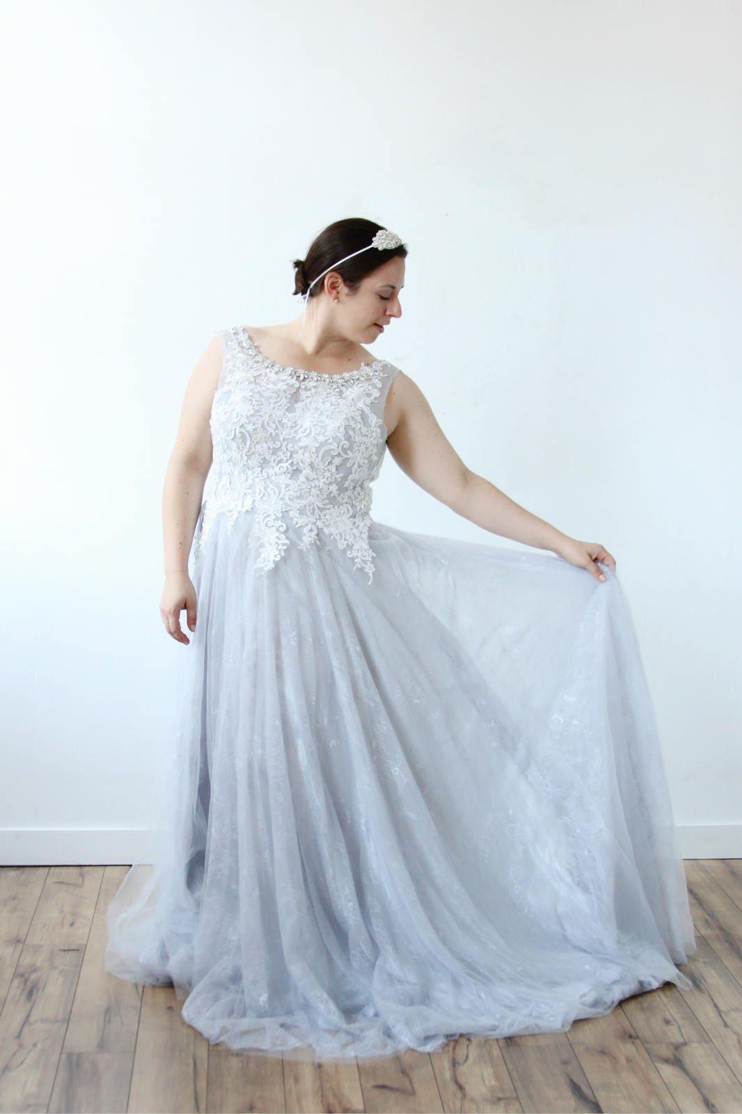 Weiße Spitze funkeln Kragen grau blau Hochzeitskleid