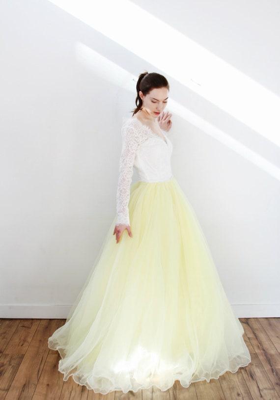 Long Sleeve V Neck Yellow Organza Ballgown Wedding Dress Etsy