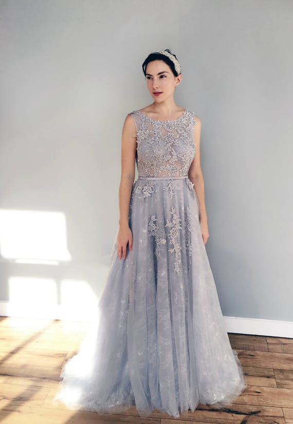 Gray Blue Lace Wedding Dress Etsy