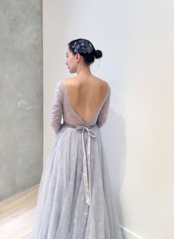 Probe Verkauf schlicht grau blau Langarm Brautkleid