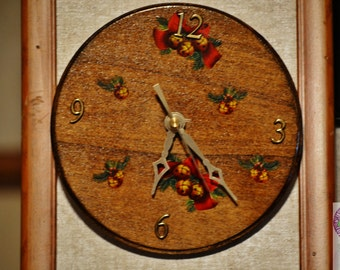 Clocks,Handmade, Holidays, Christmas, Wood, Decorations, Home