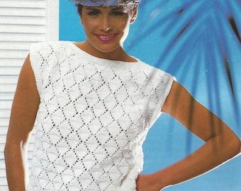 Vintage tricot motif joli Aran Pull 32-38 pouces buste poitrine