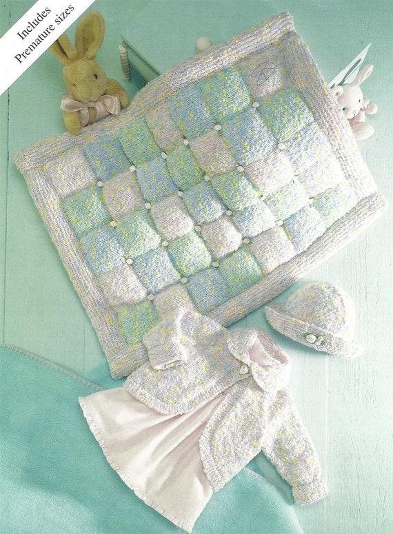 Pdf Instant Digital Download Baby Easy Knit Cardigans Hat Blanket