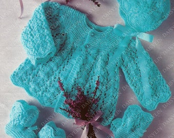 PDF Instant Digital Download baby matinee coat bonnet bootees mittens knitting pattern  16/19 inch (350)