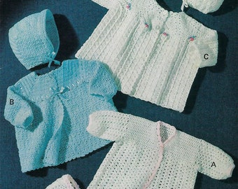 Instant PDF Download  baby matinee coat bonnet sets crochet patterns 3 ply   (546)