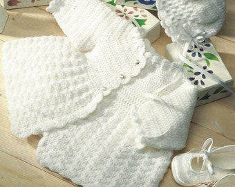 PDF Instant  Digital Download baby 3 ply crochet matinee coat & bonnet pattern (626)
