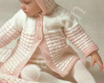 PDF Instant Digital Download baby hooded coat leggings & pram cover knitting pattern  (118)