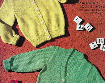 PDF Instant Digital Download baby childs cardigans ages 2 to 12 years knitting pattern (489)