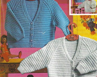 PDF Instant Digital Download baby 3 & 4 ply cardigans knitting pattern 18 to 22 inch (493)