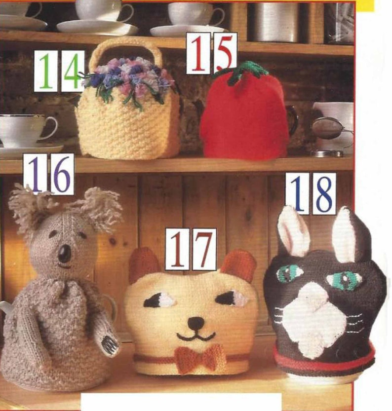 tomato,koala cat PDF Instant Digital Download 5 tea cosies knitting pattern posy 2393 bear