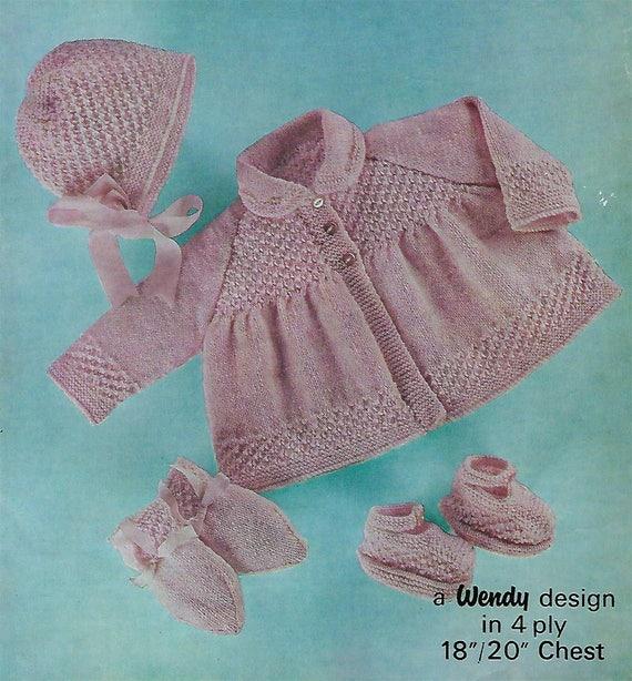 96e097d8c72c Instant PDF Digital Download baby pram set coat bonnet mittens