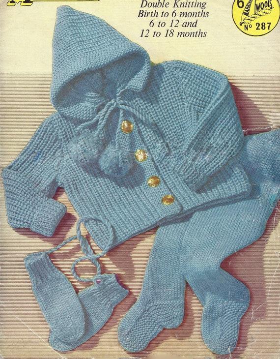 PDF Instant Digital Download baby pram set coat leggings bonnet mitts knitting pattern 1153