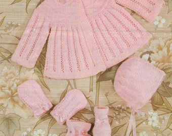 PDF Instant Digital Download baby matinee coat bonnet bootees mitts knitting pattern 19 to 20 inch (530)