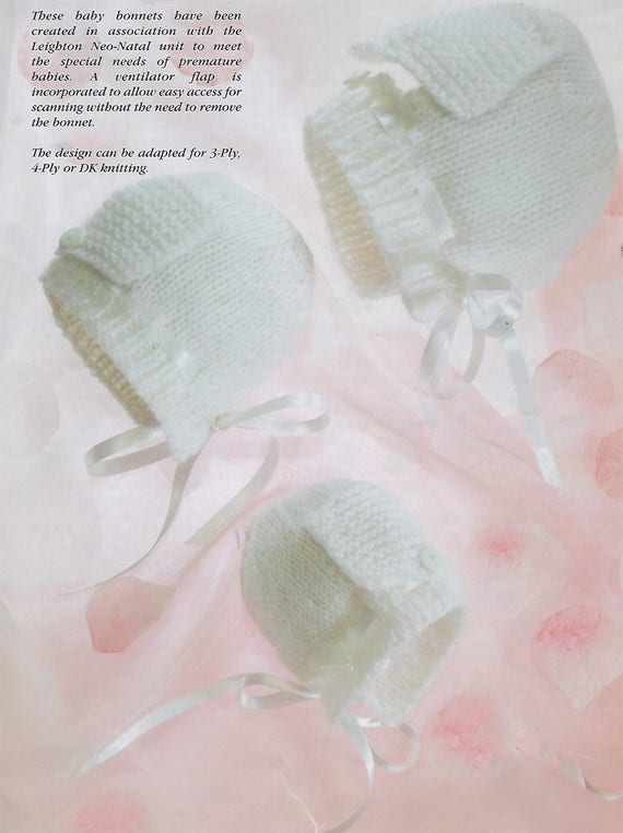 Instant Pdf Download Premature Baby Doll Knitting Pattern Hats Etsy