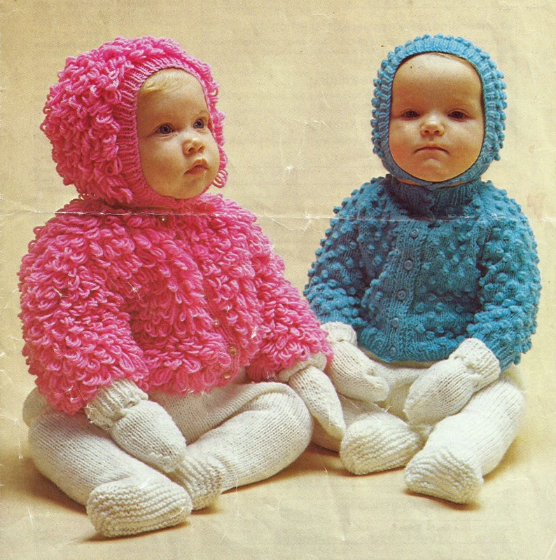 PDF Instant Digital Download premature baby child jackets /& hats 18 to 20 inch knitting pattern 1593