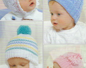 PDF Instant  Digital Download 4 baby hats 0 to 2 years knitting pattern (617