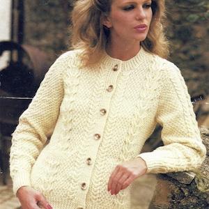 2400 PDF Instant Digital Download ladies hip length  aran waistcoat knittting pattern   34 to 40 inch