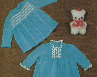 PDF Instant Digital Download baby girl 3 ply dresses knitting pattern 18/21 inch (515)