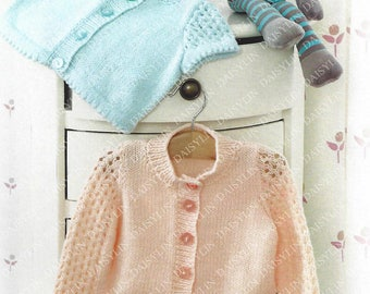 PDF Instant Digital Download baby short & long sleeves cardigan knitting pattern 14 to 22 inch double knit  (303)