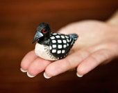 Common Loon - Miniature Wooden Duck - Hand-Painted Decoy Mini Carved Bird Decoration Drake Male Figurine Small Animals