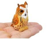 Horned Owl Wooden Figurine Statue Fake Decoy Decoration Miniature Carving, Handmade, Small Animals Bird, Folk Art