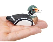 Miniature Wood Duck Hand-Painted Wooden Folk Art Decoy Mini Carved Bird Decoration Drake Male Figurine Small Animals Collectible