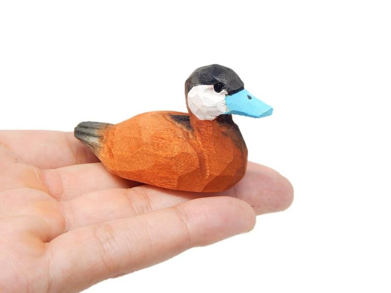 Miniature Goldeneye Duck Hand-Painted Wooden Folk Art Decoy Mini Carved Bird