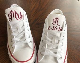 03e41a013fd195 Bridal Shoes - Custom Converse - Low Tops - Bridal Converse - Wedding Party  Shoes