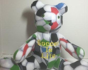 2c053575 Soccer Is life Handmade Fleece Teddy Bear