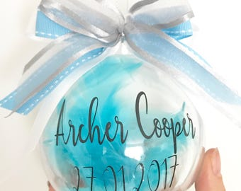 Baby's First Christmas Bauble, Personalised Baby Ornament, Baby Shower Gift, Gift For Parents, Feather Bauble, New Baby bauble, Baby Gift,
