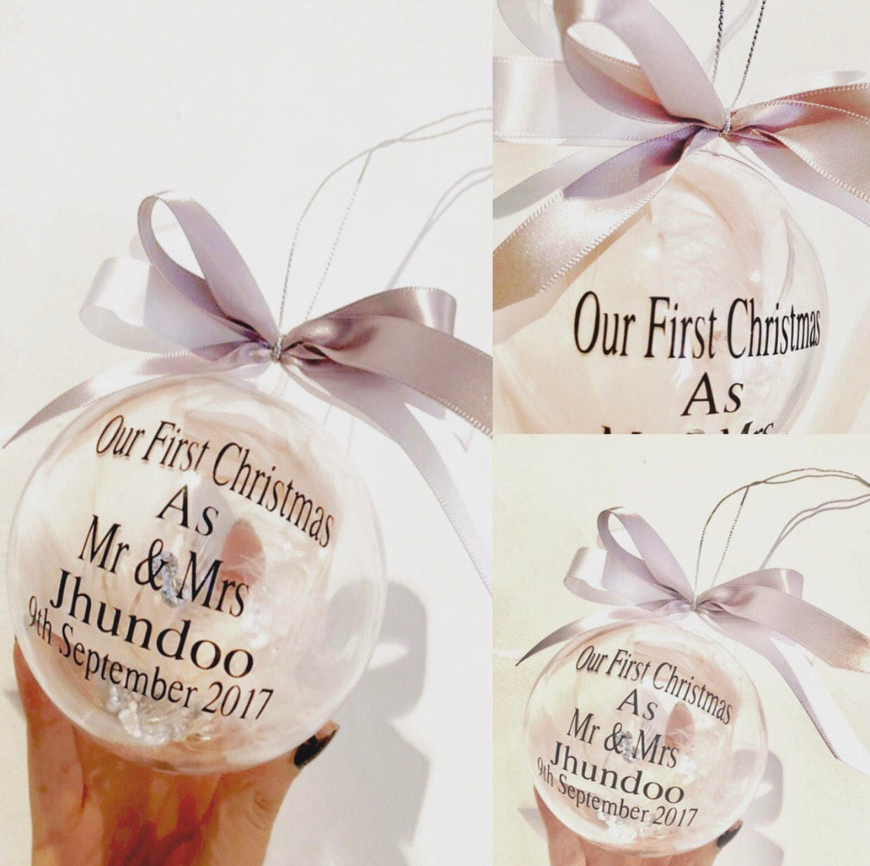 Personalised Mr & Mrs Bauble Couple Gift First Christmas As