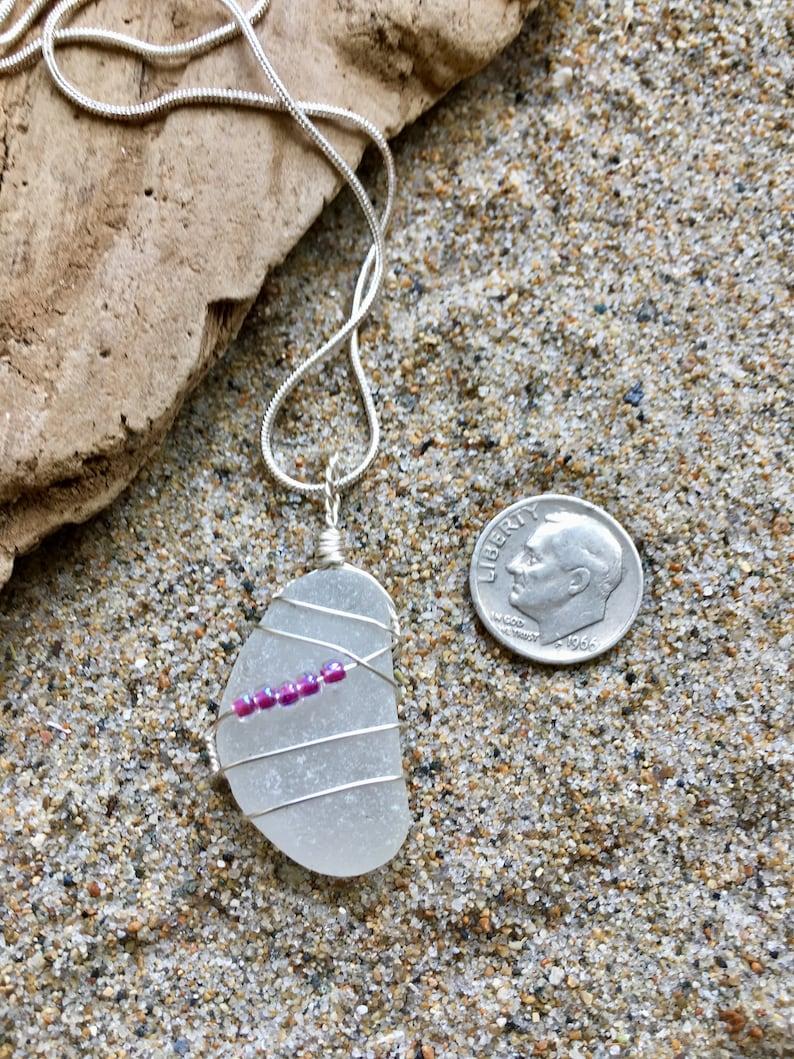 Genuine Sea Glass White Pendant Necklace with Bright Fuschia Beads