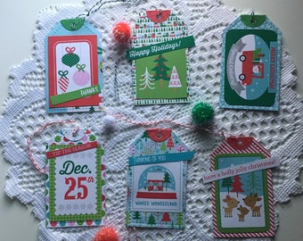 Christmas Gift Tags - Set of 6 Handmade Christmas Gift Tags With Bakers Twine for Holiday Gift Giving