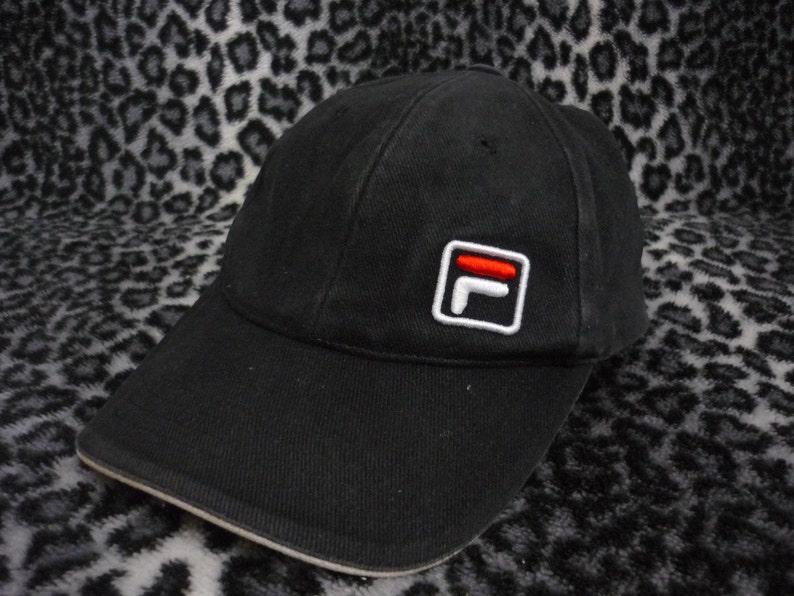 Vintage FILA Embroidered Logo Black Cap Hat  76867baaf38