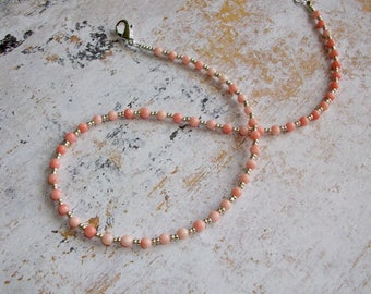 Pink coral necklace choker coral silver necklace delicate necklace pink choker gemstone necklace layering minimalist necklace unique gift